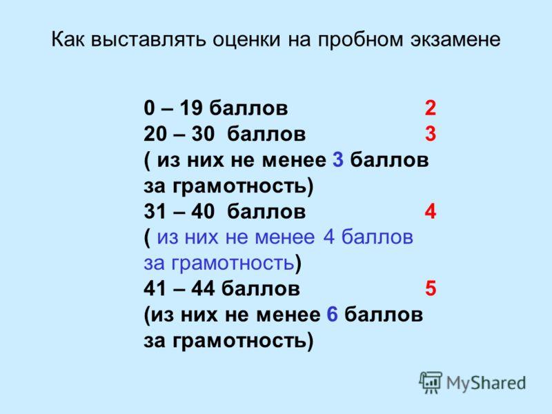 Как выставлять оценки на пробном экзамене 0 – 19 баллов 2 20 – 30 баллов 3 ( из них не менее 3 баллов за грамотность) 31 – 40 баллов 4 ( из них не менее 4 баллов за грамотность) 41 – 44 баллов 5 (из них не менее 6 баллов за грамотность)