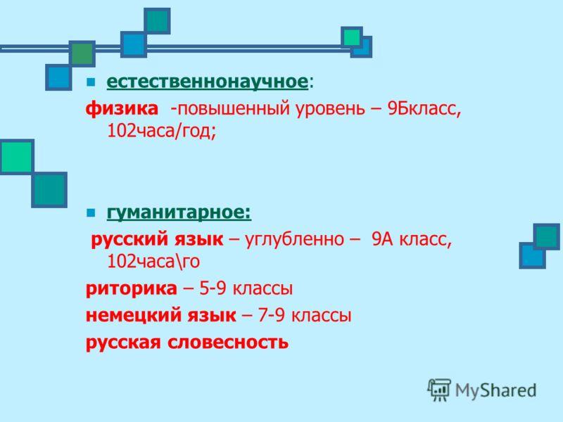 естественнонаучное: физика -повышенный уровень – 9Бкласс, 102часа/год; гуманитарное: русский язык – углубленно – 9А класс, 102часа\го риторика – 5-9 классы немецкий язык – 7-9 классы русская словесность