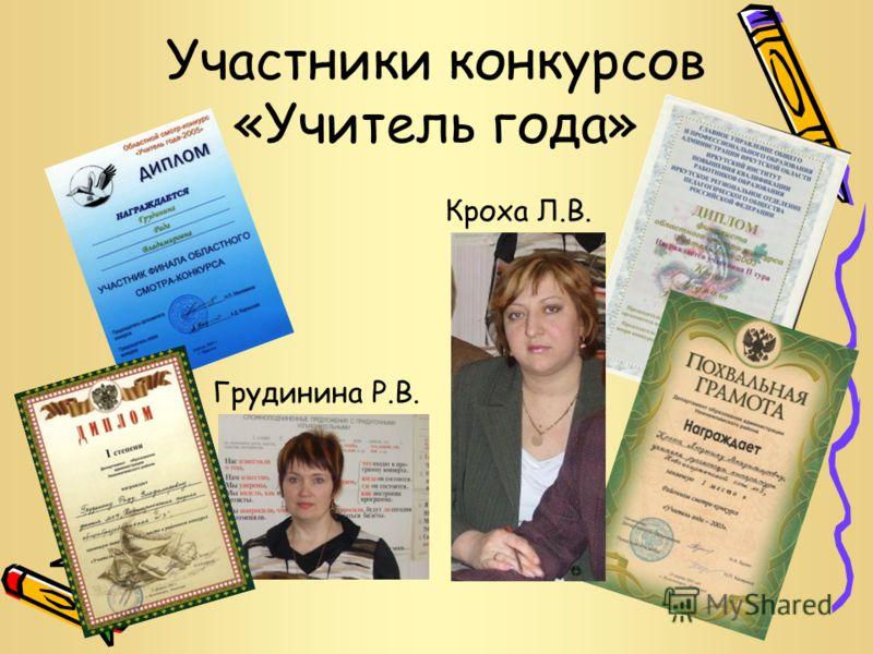 Участники конкурсов «Учитель года» Кроха Л.В. Грудинина Р.В.