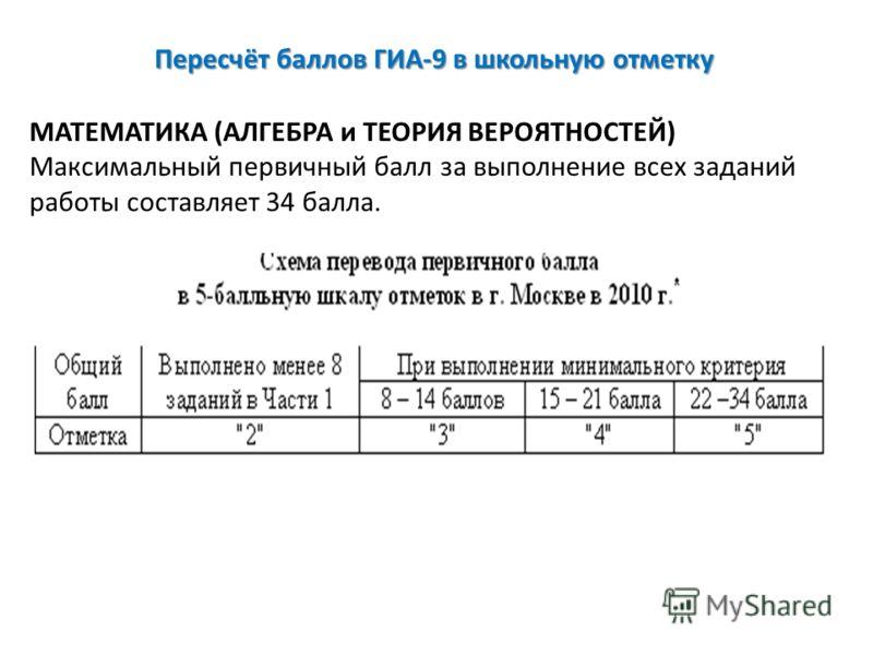 Пересчёт баллов ГИА-9 в школьную отметку МАТЕМАТИКА (АЛГЕБРА и ТЕОРИЯ ВЕРОЯТНОСТЕЙ) Максимальный первичный балл за выполнение всех заданий работы составляет 34 балла.