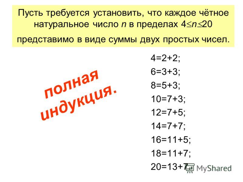 Пусть требуется установить, что каждое чётное натуральное число n в пределах 4 n 20 представимо в виде суммы двух простых чисел. 4=2+2; 6=3+3; 8=5+3; 10=7+3; 12=7+5; 14=7+7; 16=11+5; 18=11+7; 20=13+7. полная индукция.