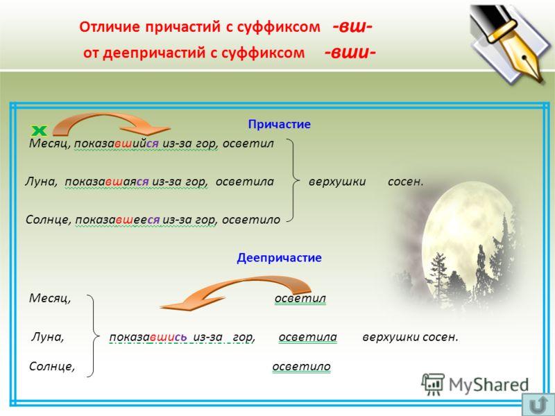 Причастие Месяц, показавшийся из-за гор, осветил Луна, показавшаяся из-за гор, осветила верхушки сосен. Солнце, показавшееся из-за гор, осветило Деепричастие Месяц, осветил Луна, показавшись из-за гор, осветила верхушки сосен. Солнце, осветило Отличи