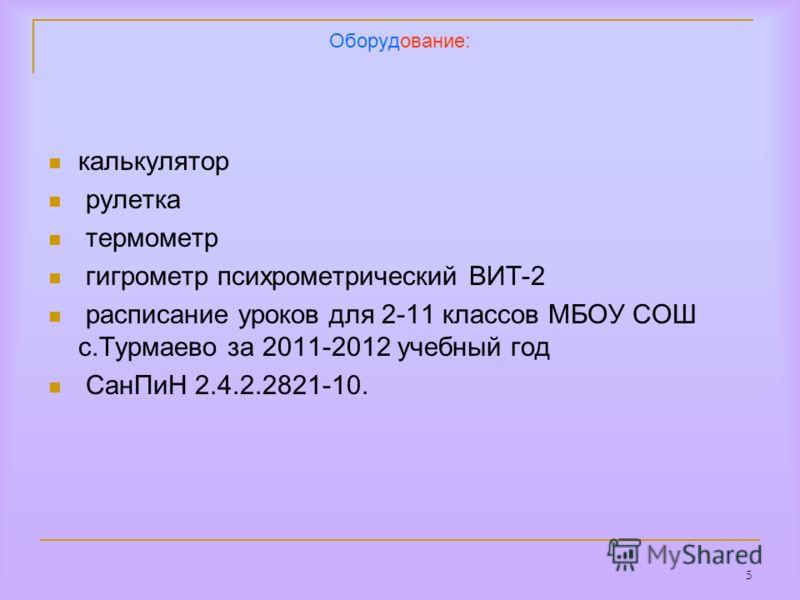 5 Оборудование: калькулятор рулетка термометр гигрометр психрометрический ВИТ-2 расписание уроков для 2-11 классов МБОУ СОШ с.Турмаево за 2011-2012 учебный год СанПиН 2.4.2.2821-10.