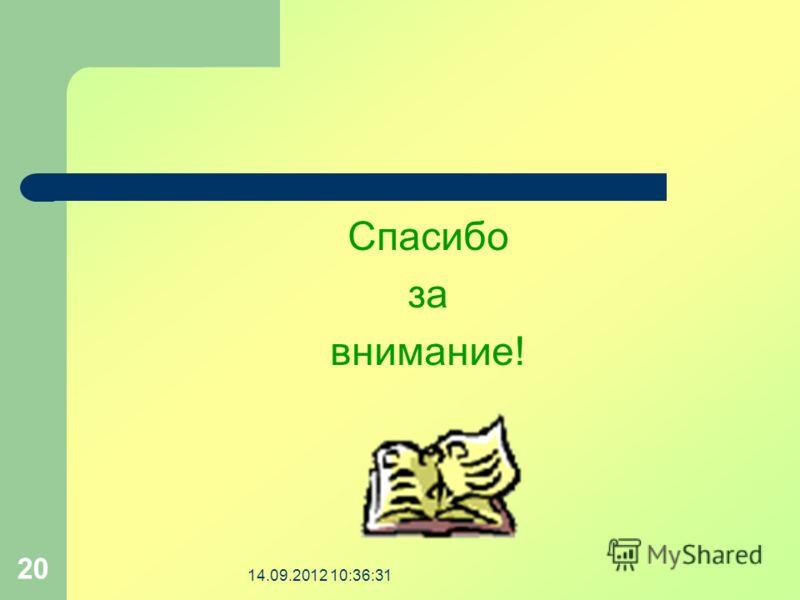 14.09.2012 10:37:59 20 Спасибо за внимание!