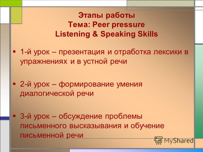 Этапы работы Тема: Peer pressure Listening & Speaking Skills 1-й урок – презентация и отработка лексики в упражнениях и в устной речи 2-й урок – формирование умения диалогической речи 3-й урок – обсуждение проблемы письменного высказывания и обучение