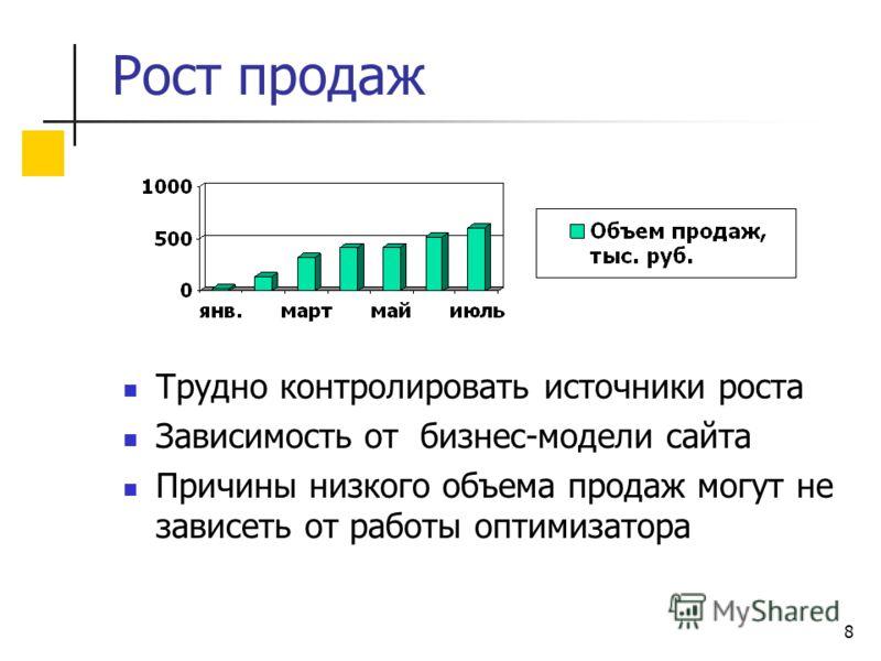 8 Рост продаж Трудно контролировать источники роста Зависимость от бизнес-модели сайта Причины низкого объема продаж могут не зависеть от работы оптимизатора