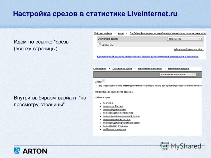 Настройка срезов в статистике Liveinternet.ru Идем по ссылке срезы (вверху страницы) Внутри выбираем вариант по просмотру страницы