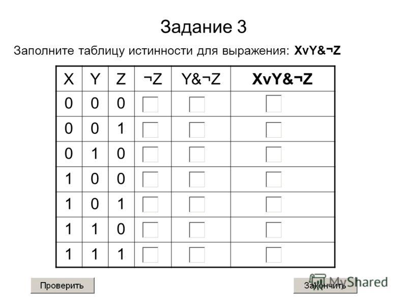 Задание 3 Заполните таблицу истинности для выражения: XvY&¬Z XYZ¬ZY&¬ZXvY&¬Z 000 001 010 100 101 110 111