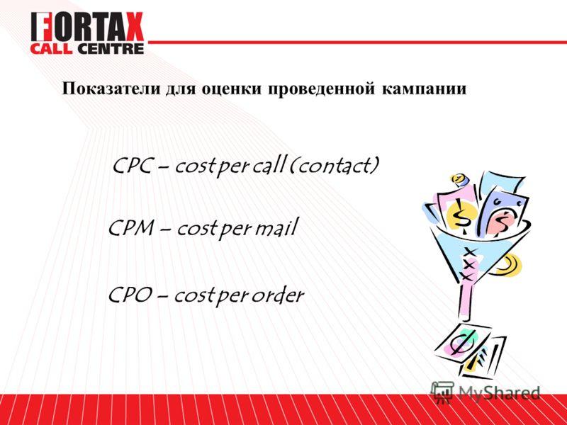 Показатели для оценки проведенной кампании CPC – cost per call (contact) CPM – cost per mail CPO – cost per order