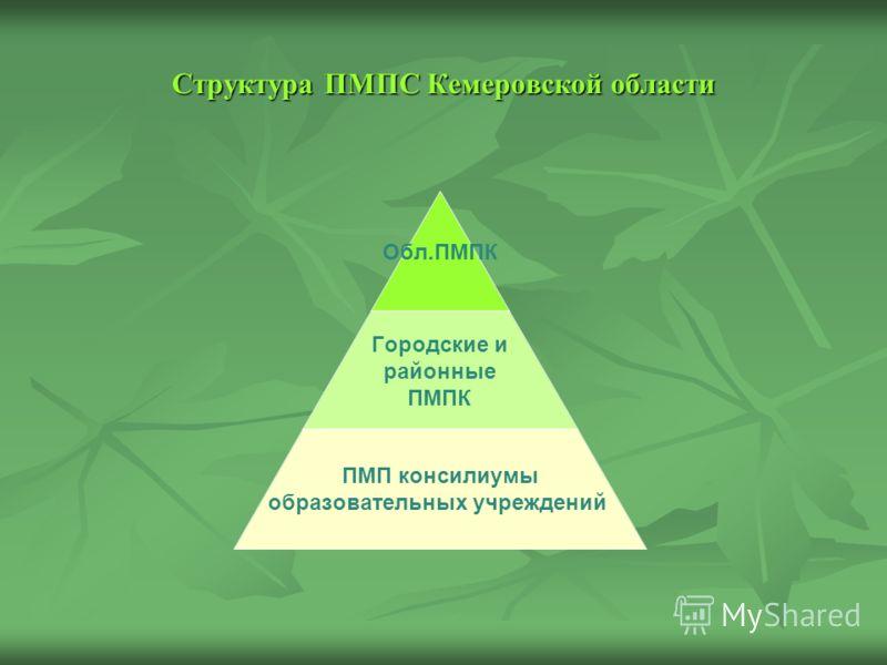 Структура ПМПС Кемеровской области Обл.ПМПК Городские и районные ПМПК ПМП консилиумы образовательных учреждений