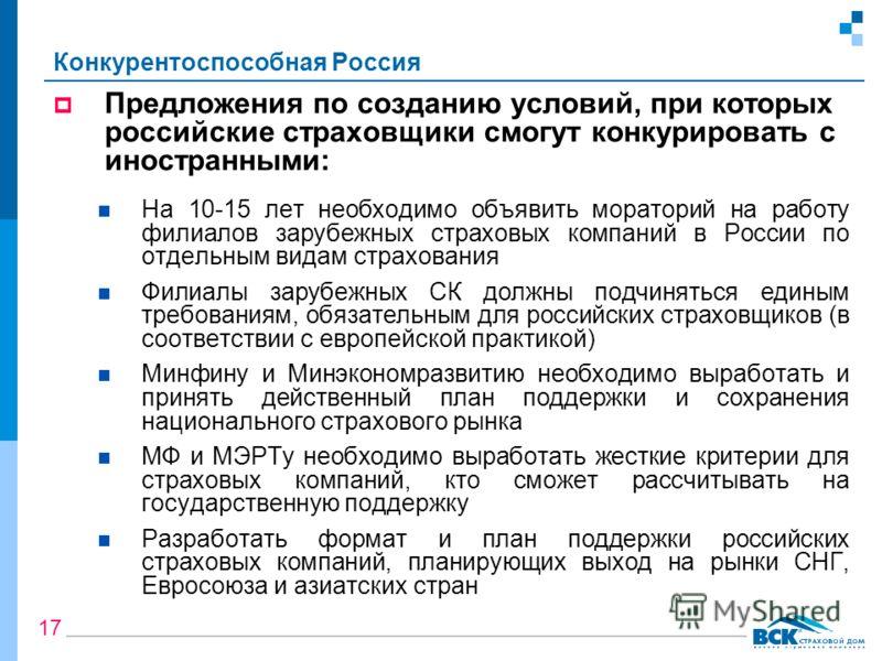Конкурентоспособная Россия Предложения по созданию условий, при которых российские страховщики смогут конкурировать с иностранными: На 10-15 лет необходимо объявить мораторий на работу филиалов зарубежных страховых компаний в России по отдельным вида