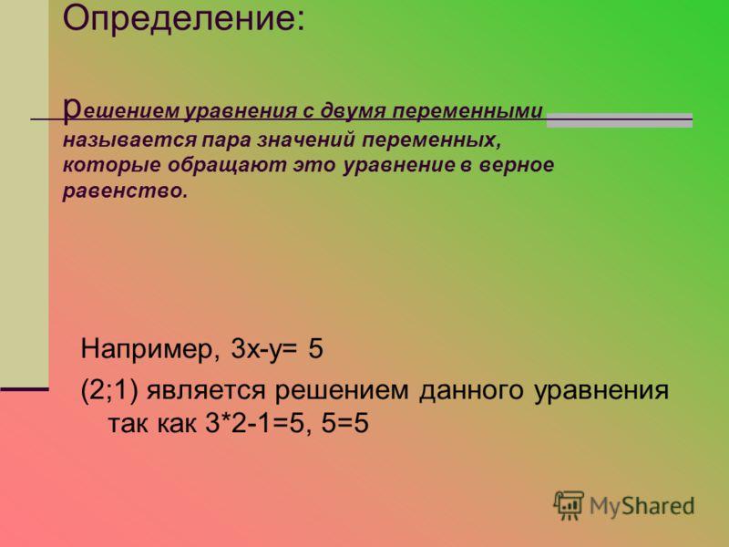 Определение: р ешением уравнения с двумя переменными называется пара значений переменных, которые обращают это уравнение в верное равенство. Например, 3х-у= 5 (2;1) является решением данного уравнения так как 3*2-1=5, 5=5