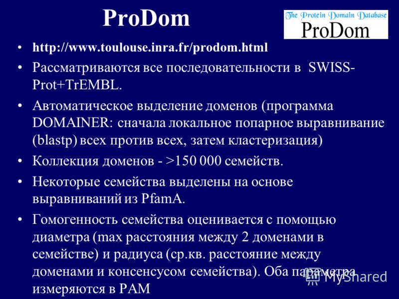 ProDom http://www.toulouse.inra.fr/prodom.html Рассматриваются все последовательности в SWISS- Prot+TrEMBL. Автоматическое выделение доменов (программа DOMAINER: сначала локальное попарное выравнивание (blastp) всех против всех, затем кластеризация)