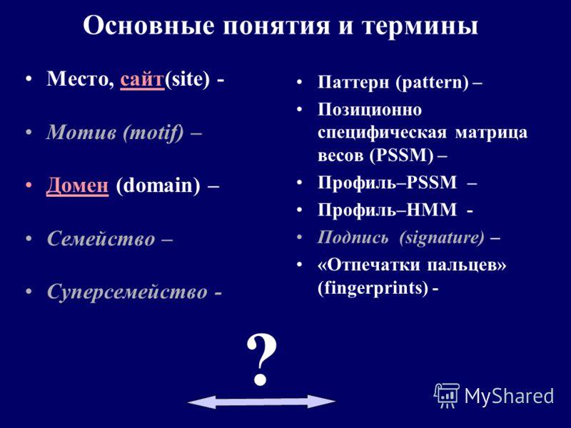 Паттерн (pattern) – Позиционно специфическая матрица весов (PSSM) – Профиль–PSSM – Профиль–HМM - Подпись (signature) – «Oтпечатки пальцев» (fingerprints) - Место, сайт(site) - Мотив (motif) – Домен (domain) – Семейство – Суперсемейство - Основные пон