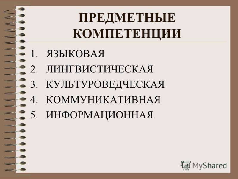 ПРЕДМЕТНЫЕ КОМПЕТЕНЦИИ 1.ЯЗЫКОВАЯ 2.ЛИНГВИСТИЧЕСКАЯ 3.КУЛЬТУРОВЕДЧЕСКАЯ 4.КОММУНИКАТИВНАЯ 5.ИНФОРМАЦИОННАЯ