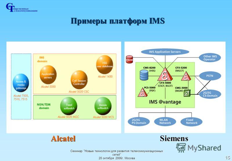 Семинар Новые технологии для развития телекоммуникационных сетей 20 октября 2006г, Москва 15 Примеры платформ IMS Alcatel Siemens