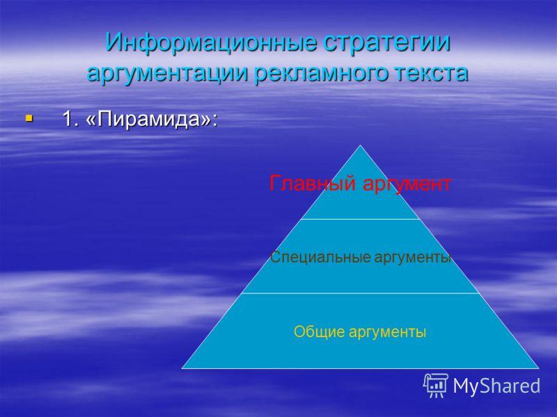 Информационные стратегии аргументации рекламного текста 1. «Пирамида»: 1. «Пирамида»: Главный аргумент Специальные аргументы Общие аргументы