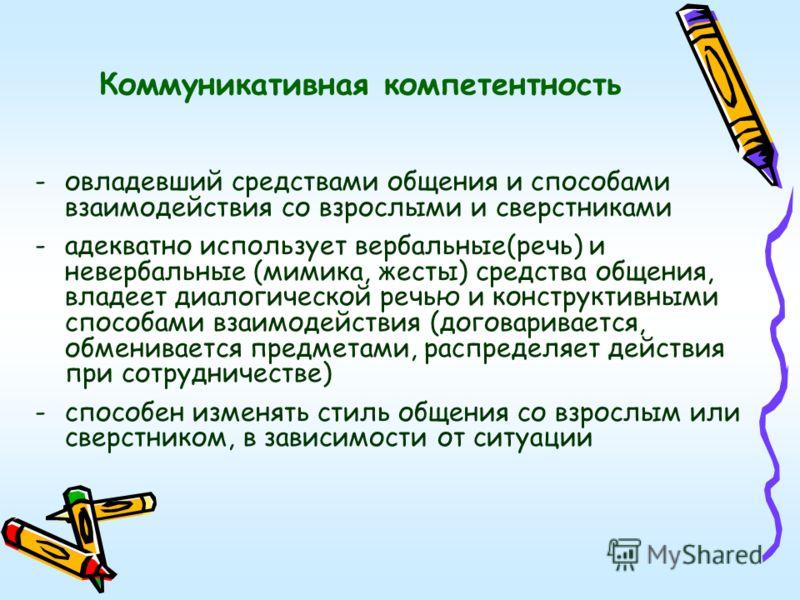 Коммуникативная компетентность -овладевший средствами общения и способами взаимодействия со взрослыми и сверстниками -адекватно использует вербальные(речь) и невербальные (мимика, жесты) средства общения, владеет диалогической речью и конструктивными