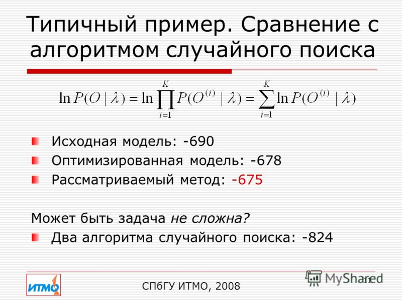 11 Типичный пример. Сравнение с алгоритмом случайного поиска СПбГУ ИТМО, 2008 Исходная модель: -690 Оптимизированная модель: -678 Рассматриваемый метод: -675 Может быть задача не сложна? Два алгоритма случайного поиска: -824