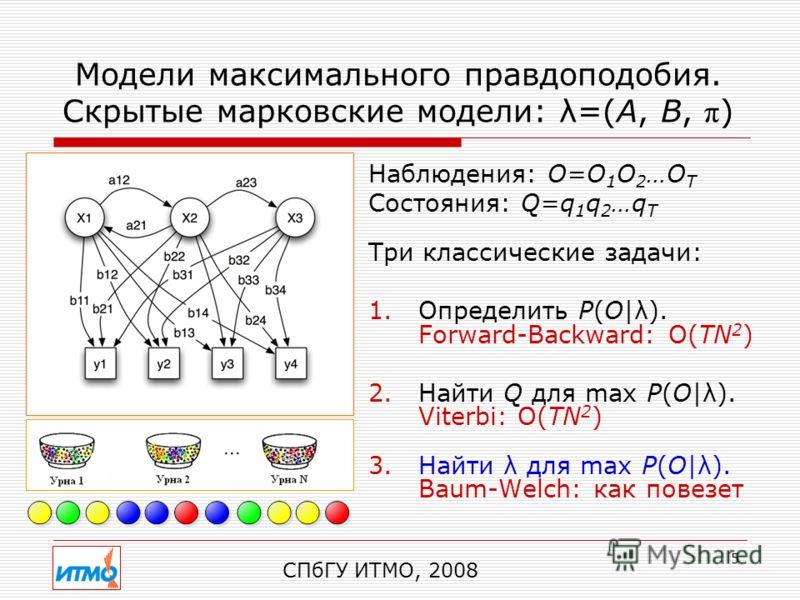 5 Модели максимального правдоподобия. Скрытые марковские модели: λ=(A, B, π ) Наблюдения: O=O 1 O 2 …O T Состояния: Q=q 1 q 2 …q T Три классические задачи: 1.Определить P(O|λ). Forward-Backward: O(TN 2 ) 2.Найти Q для max P(O|λ). Viterbi: O(TN 2 ) 3.