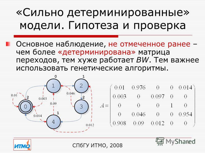 9 «Сильно детерминированные» модели. Гипотеза и проверка СПбГУ ИТМО, 2008 Основное наблюдение, не отмеченное ранее – чем более «детерминирована» матрица переходов, тем хуже работает BW. Тем важнее использовать генетические алгоритмы.
