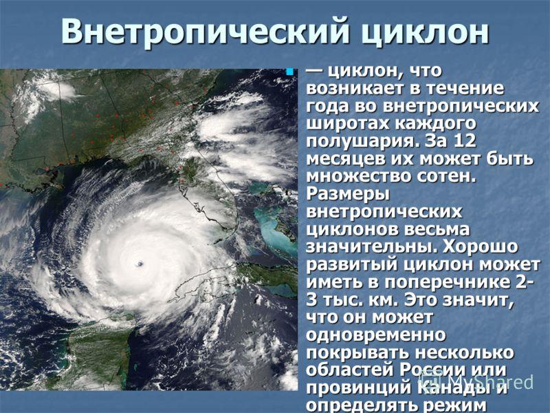 Внетропический циклон циклон, что возникает в течение года во внетропических широтах каждого полушария. За 12 месяцев их может быть множество сотен. Размеры внетропических циклонов весьма значительны. Хорошо развитый циклон может иметь в поперечнике