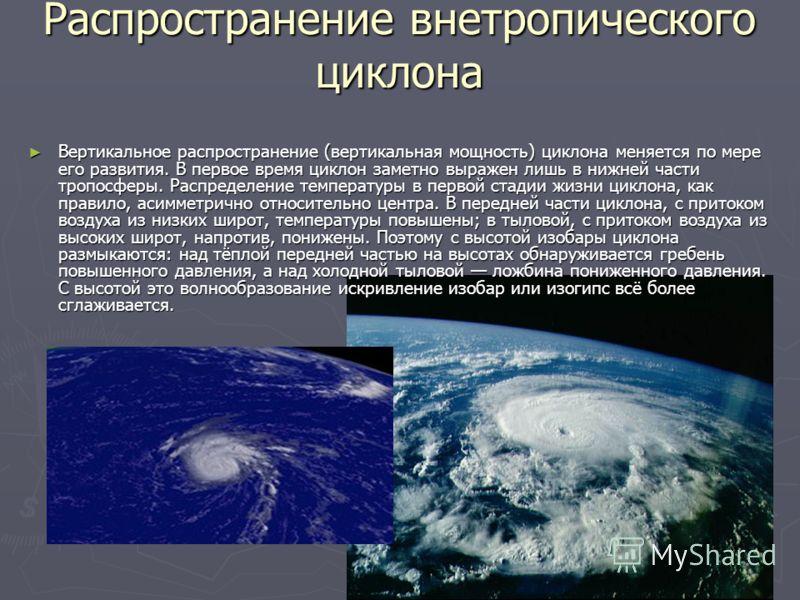 Распространение внетропического циклона Вертикальное распространение (вертикальная мощность) циклона меняется по мере его развития. В первое время циклон заметно выражен лишь в нижней части тропосферы. Распределение температуры в первой стадии жизни