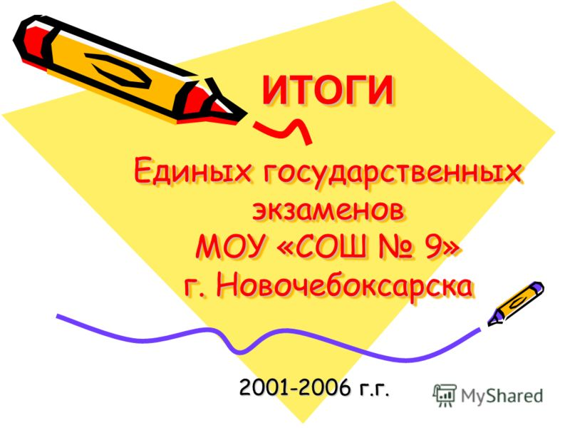 ИТОГИ Единых государственных экзаменов МОУ «СОШ 9» г. Новочебоксарска 2001-2006 г.г.
