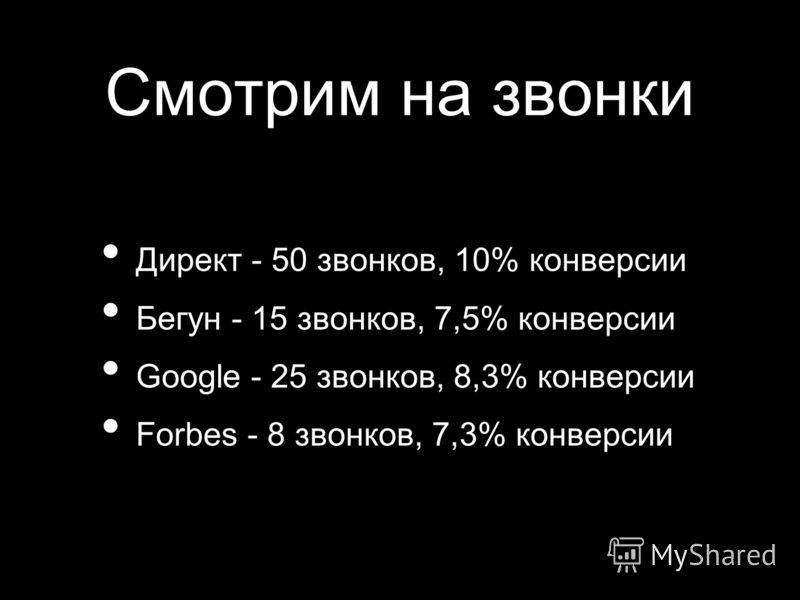 Смотрим на звонки Директ - 50 звонков, 10% конверсии Бегун - 15 звонков, 7,5% конверсии Google - 25 звонков, 8,3% конверсии Forbes - 8 звонков, 7,3% конверсии