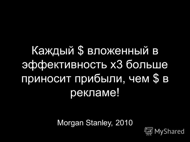 Каждый $ вложенный в эффективность х3 больше приносит прибыли, чем $ в рекламе! Morgan Stanley, 2010