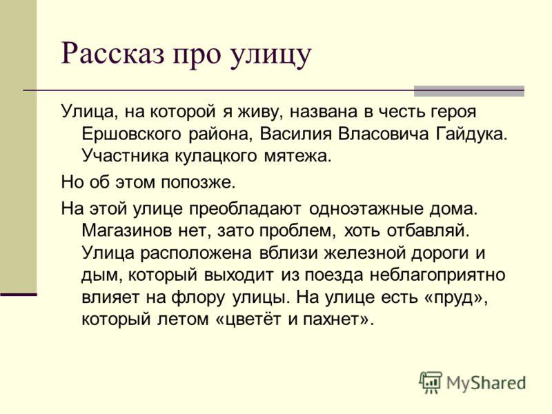 Рассказ про улицу Улица, на которой я живу, названа в честь героя Ершовского района, Василия Власовича Гайдука. Участника кулацкого мятежа. Но об этом попозже. На этой улице преобладают одноэтажные дома. Магазинов нет, зато проблем, хоть отбавляй. Ул