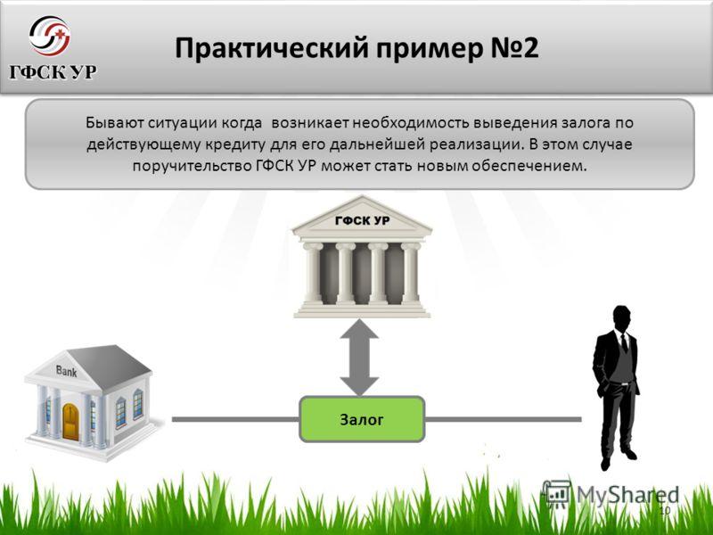 10 Практический пример 2 Бывают ситуации когда возникает необходимость выведения залога по действующему кредиту для его дальнейшей реализации. В этом случае поручительство ГФСК УР может стать новым обеспечением. Залог