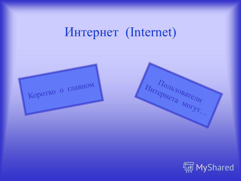 Интернет (Internet) Пользователи Интернета могут… Коротко о главном