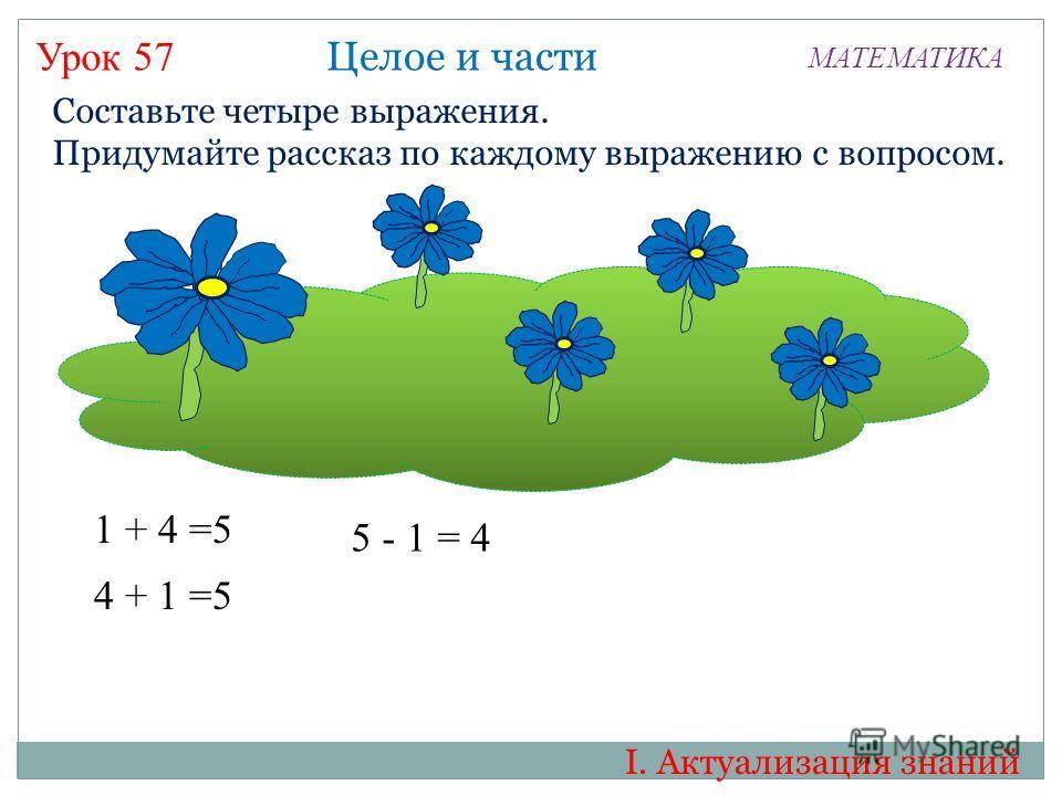Урок 57 МАТЕМАТИКА Составьте четыре выражения. Придумайте рассказ по каждому выражению с вопросом. 1 + 4 =5 Целое и части 4 + 1 =5 5 - 1 = 4 I. Актуализация знаний