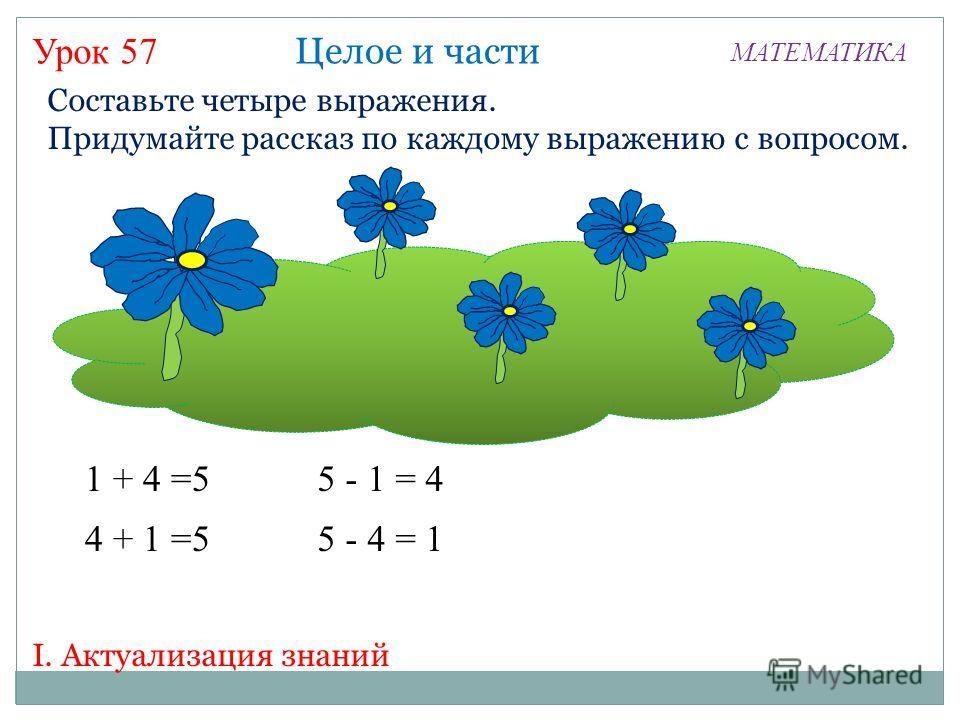 Урок 57 МАТЕМАТИКА I. Актуализация знаний Составьте четыре выражения. Придумайте рассказ по каждому выражению с вопросом. 1 + 4 =5 Целое и части 4 + 1 =5 5 - 1 = 4 5 - 4 = 1