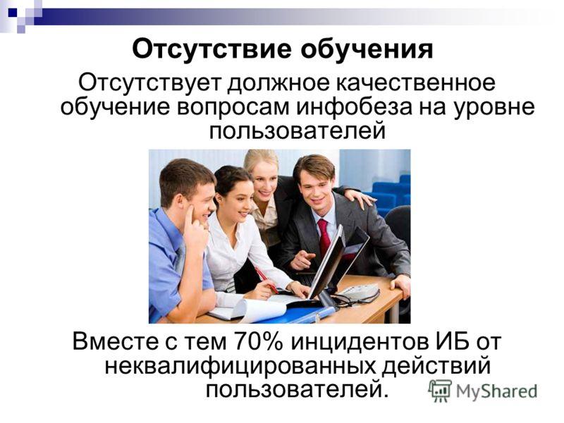 Отсутствие обучения Отсутствует должное качественное обучение вопросам инфобеза на уровне пользователей Вместе с тем 70% инцидентов ИБ от неквалифицированных действий пользователей.