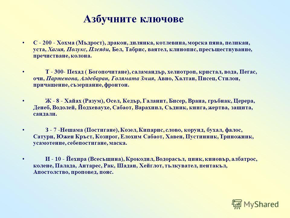 С - 200 - Хохма (Мъдрост), дракон, дилянка, котлевина, морска пяна, пеликан, уста, Хагия, Полукс, Плеяди, Бел, Табрис, ваятел, клинопис, пресъществувание, пречистване, колона. Т - 300- Пехад ( Богопочитане), саламандър, хелиотроп, кристал, вода, Пега