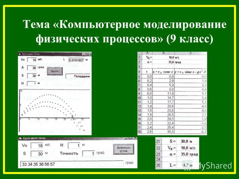 Тема «Компьютерное моделирование физических процессов» (9 класс)