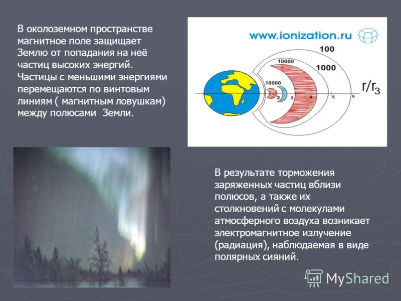 В околоземном пространстве магнитное поле защищает Землю от попадания на неё частиц высоких энергий. Частицы с меньшими энергиями перемещаются по винтовым линиям ( магнитным ловушкам) между полюсами Земли. В результате торможения заряженных частиц вб
