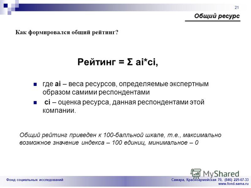 Фонд социальных исследований Cамара, Красноармейская 70, (846) 229-67-33 www.fond.sama.ru 21 Общий ресурс Как формировался общий рейтинг? Рейтинг = Σ аi*сi, где ai – веса ресурсов, определяемые экспертным образом самими респондентами ci – оценка ресу