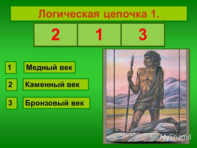 Логическая цепочка 1. Восстановите хронологическую последовательность: Каменный век Медный век Бронзовый век 2 1 3 213