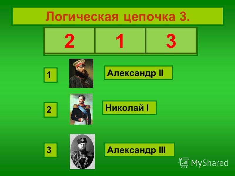 Логическая цепочка 3. Восстановите хронологическую последовательность: Николай I Александр II Александр III 2 1 3 213