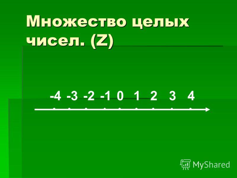 Множество целых чисел. (Z) 01234-2-3-4
