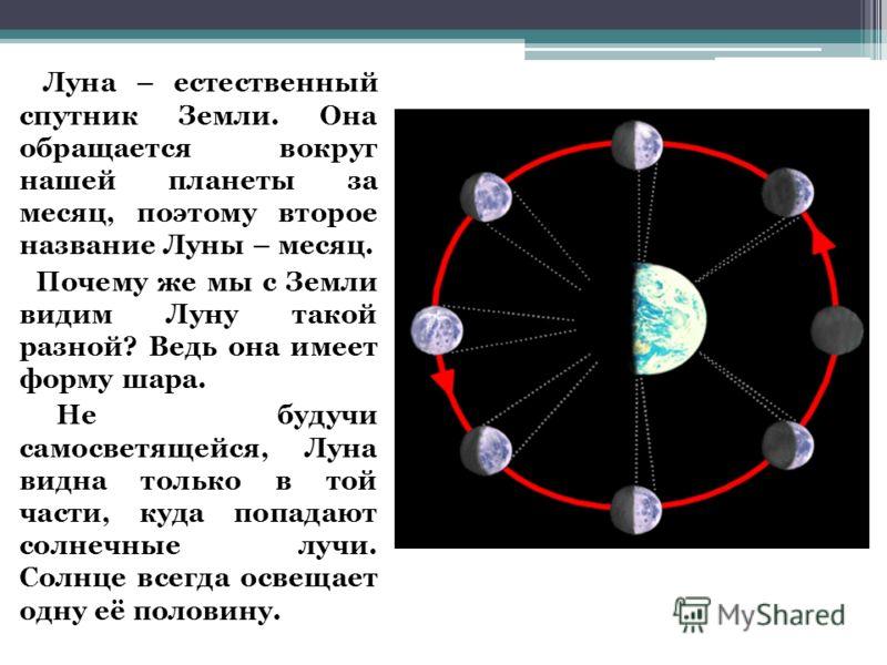 Луна – естественный спутник Земли. Она обращается вокруг нашей планеты за месяц, поэтому второе название Луны – месяц. Почему же мы с Земли видим Луну такой разной? Ведь она имеет форму шара. Не будучи самосветящейся, Луна видна только в той части, к