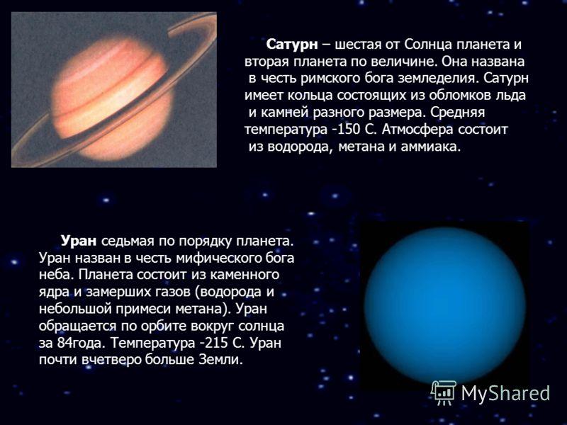 Сатурн – шестая от Солнца планета и вторая планета по величине. Она названа в честь римского бога земледелия. Сатурн имеет кольца состоящих из обломков льда и камней разного размера. Средняя температура -150 С. Атмосфера состоит из водорода, метана и