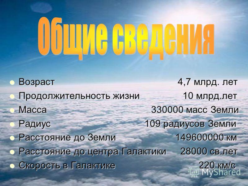 Возраст 4,7 млрд. лет Возраст 4,7 млрд. лет Продолжительность жизни 10 млрд.лет Продолжительность жизни 10 млрд.лет Масса 330000 масс Земли Масса 330000 масс Земли Радиус 109 радиусов Земли Радиус 109 радиусов Земли Расстояние до Земли 149600000 км Р