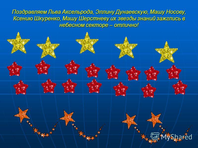 Поздравляем Льва Аксельрода, Эллину Дунаевскую, Машу Носову, Ксению Шкуренко, Машу Шерстневу их звезды знаний зажглись в небесном секторе – отлично!