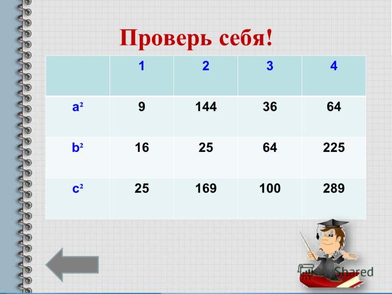 Проверь себя! 1234 a²a² 91443664 b²b² 162564225 c²c² 25169100289