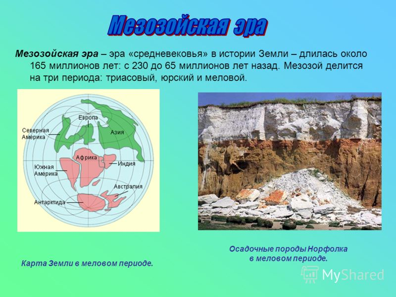 Мезозойская эра – эра «средневековья» в истории Земли – длилась около 165 миллионов лет: с 230 до 65 миллионов лет назад. Мезозой делится на три периода: триасовый, юрский и меловой. Карта Земли в меловом периоде. Осадочные породы Норфолка в меловом