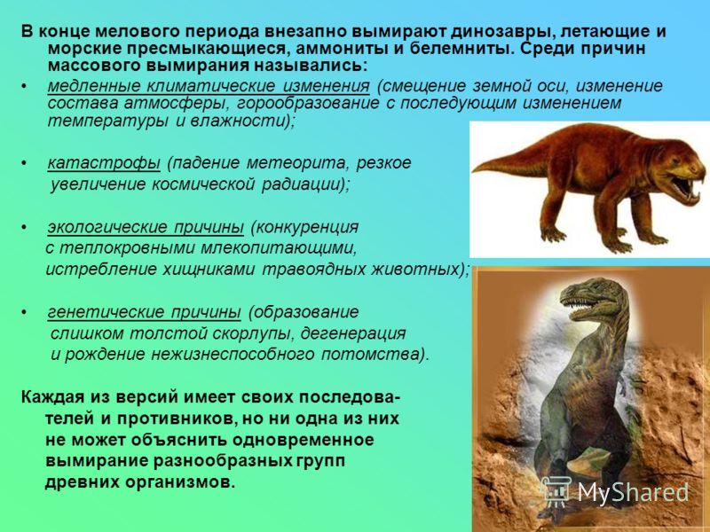 В конце мелового периода внезапно вымирают динозавры, летающие и морские пресмыкающиеся, аммониты и белемниты. Среди причин массового вымирания назывались: медленные климатические изменения (смещение земной оси, изменение состава атмосферы, горообраз